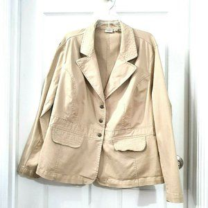 CATO 22/24W Tan Cotton Stretch Blazer Jacket